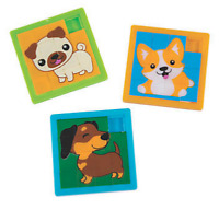 Pack of 4 - Cute Dog Puppy Slide Puzzles - Party Bags Favours Fillers