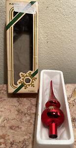"Vintage Rauch Mini Christmas Tree Topper Mercury Glass 5.5"" w/ box Red & Gold"
