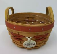 1999 Longaberger Peppermint Tree Trimming Christmas Basket w/ Tie On & Protector