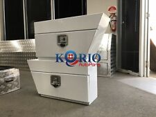 Pair white aluminium tool box under tray Ute Storage 750x250x400 for Hilux Rodeo