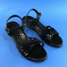 SAS Patent Leather Strappy Sandals Size 9.5 Narrow Shoes Black