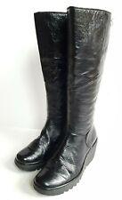 Fly London Black Knee High Platform Patent Boots UK 4, EU 37