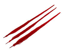 "Pheasant Feathers | 10 Pieces - 20-22"" Red Bleached and Dyed Long Ringneck"