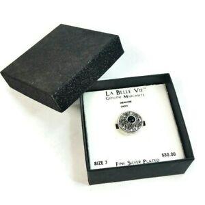 La Belle Vie Marcasite Black Onyx Size 7 Fine Silver Plate Band Ring In Gift Box