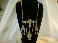 """ Goldette "" Vintage Necklace Egyptian Revival Gun metal Dangling Scarab ArB"