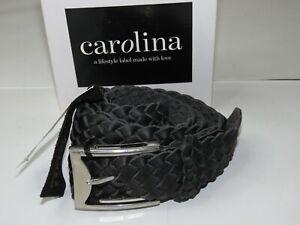 Carolina Leather Belt Plaited Jeans Belt Black 100% Leather Size L/XL 113cm
