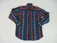 Canyon Guide Button Up Shirt Adult Medium Black Red Western Rodeo Cowboy Mens *