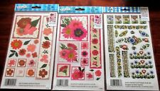 3 Royal Langnickel E-Z Rub-On Transfers Red Flowers, Magenta Flowers, Speed Pack