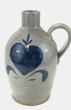 "Bastine Pottery Indiana 1985 Salt Glaze Heart Jug 8"" EUC"