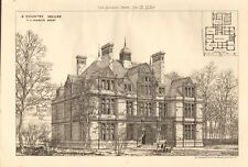 1880  ANTIQUE PRINT- ARCHITECTURE - A COUNTRY HOUSE
