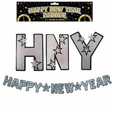 Black & Silver 2.7 Metre Letter Banner 'Happy New Year'