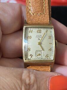 Vtg Elgin DeLuxe Manual 10k Gold Filled 17 Jewels 558 Men's Watch In Box