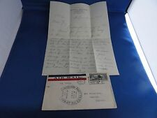 U S Stamps Air Mail Cover Lindbergh 2-20-1928 With Letter Of Its History