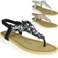 Womens Diamante T-Bar Flats Ladies Summer Sandals Slingback Toe Post Shoes Size