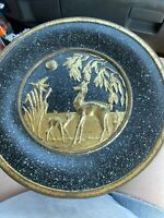 Vintage Guildcraft Black & Bronze (gold) Tin with Lid (Made in USA, NYC) Deer
