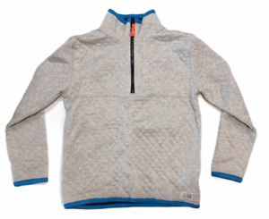 NWT J CREW Boy's Pull-Over Sweatshirt Sz 14 Gray Blue 1/4 Zip Quilted