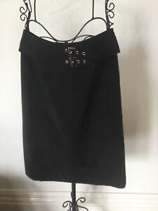 Karen Millen Size 10 Black Mid Length Skirt With Belt Design And Zip At Back New