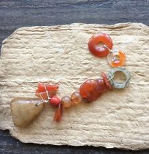 Antique Chinese 多宝串 in Carnelian agate, coral and jade beads charms