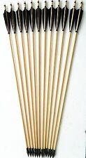 12X Black Turkeys Feather Tradition Hunting Arrow Wooden Nock Longbow Arrowhead
