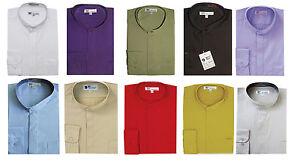 Men's Dress Shirt with Mandarin Collar (Collarless) and Hidden Buttons SG01