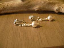 Boucles d'Oreilles clips couleur Ivoire, ( p robe) Mariage/Mariée/Soirée perles