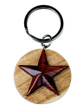 Western Cowgirl/Cowboy Jewelry Wood Star Key Ring Handcrafted