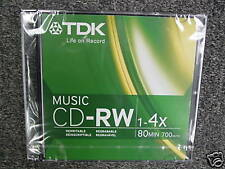 TDK CDRW80TWN MUSIC CD-RW 4X BRAND NEW SLIM SINGLE