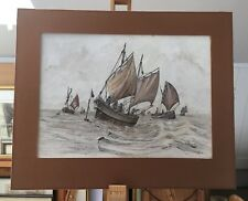 A pair of Pen and Ink Drawings of Fishing Vessels