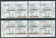 Canada #673a Coastal Vessels Matched Set Plate Block MNH