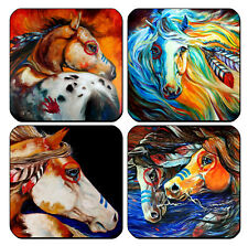 New listing Set Of 4 Wood Drink Coasters - Horses #Sn17 Equestrian Native Tribal Painted