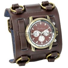Men Analog Dial brown Wide Leather Cuff Band Watch wristband bracelet b02