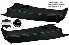 GREEN STITCH 2X REAR C PILLAR LEATHER COVERS FOR BMW E39 96-03 ESTATE TOURING