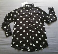Zara Women's Navy Blue Polka Dot Blouse Shirt Size S Small New With Tags