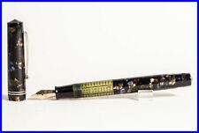 GOLDEN BLUE marbled OMEGA SUPERNOVA 1930's Italian Made Piston Filler PEN