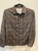 Tommy Bahama Brown Plaid 100% Polyester Button Front Size Medium