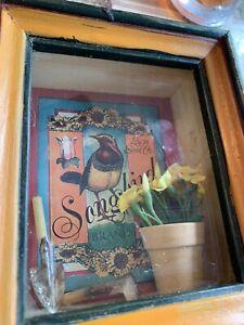 SONGBIRD SHADOW BOX WALL HANGING OR SHELF DISPLAY VANDOR 1997 COLLECTABLE.