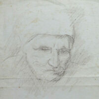Porträt Der Mutter Alte Zeichnung Bleistift Auf Papier Der Maler Pancaldi P28.8