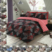 Duvet Cover Cotton Rich Bedding Set With Pillowcases & Fitted Sheet Double King