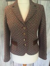 Irene Van Ryb Red, Green & Brown Wool Blend Jacket With Pockets Sz14/40