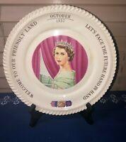1957 Commemorative Collectible Plate H.M. Queen Elizabeth Prince Philip To U.S.