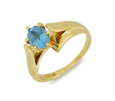 Women's .75 ct Topaz Solitaire Gemstone Ring 14k SOLID Yellow Gold