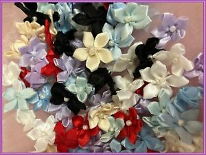 "100 Satin Ribbon Star Flower 3/4"" Applique Sewing Bow Craft Mix Color 204-2"
