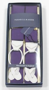 New NIB Turnbull & Asser $230  Purple Cotton w/ White Leather Suspenders Braces