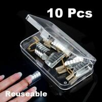 10Pcs Reusable UV Gel Acrylic French Tips Nail Art Extension Guide Form Tool Set