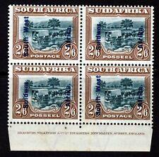 SOUTH WEST AFRICA 1927 Overprinted 2/6 Green & Brown IMPRINT BLOCK SG 52 MINT