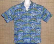 Kahala AVI Hawaiian Shirt Blue Green Tan Sailfish Size XL