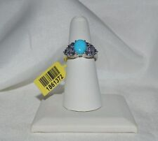 GLAMOROUS 2.55ct. NATURAL TANZANITE  & GENUINE TURQUOISE  COCKTAIL RING