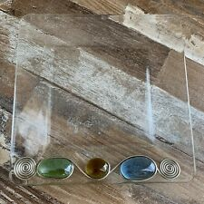 Retro Clear Glass Trinket Tray With Multi Colored Gems Counter Jewelry Holder