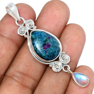 Ruby In Kyanite & Moonstone 925 Sterling Silver Pendant Jewelry BP97940
