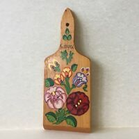 Vintage Budapest Souvenir Hand Painted Small Wooden Chopping Kitchen Board
